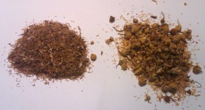 Camomile we don't like, on the left, looks and smells like straw. Ours, on the right, contains full chamomile flowers.
