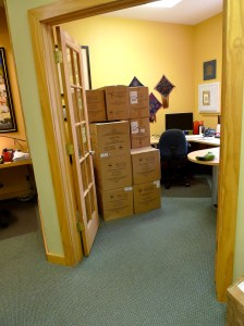 Richard's away? Maybe we can just put those boxes in his office ...