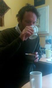 Richard taking the blind taste test. The tea-squeeze challenge.
