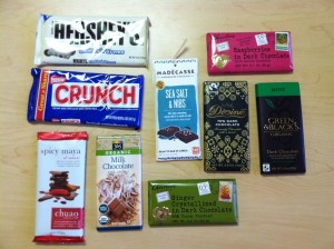 A look at all of the chocolates we tasted with teas. (Apologies for the glare on those shiny wrappers.)