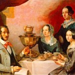 Sitting around the samovar (family portrait in 1844 by T. Myagkov).