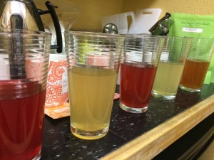 Paisley Label Tea and Lemonade taste-off in our office kitchenette -- not so highly scientific, but sure tasted great!