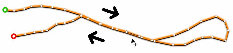 Créer des points de trace par-dessus la trace en cours d'édition