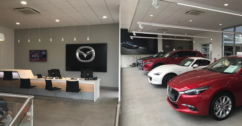 Inside Orpington mazda showroom and service desk