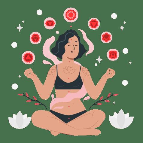 Ilustração de uma mulher fazendo yoga e mostrando seus benefícios