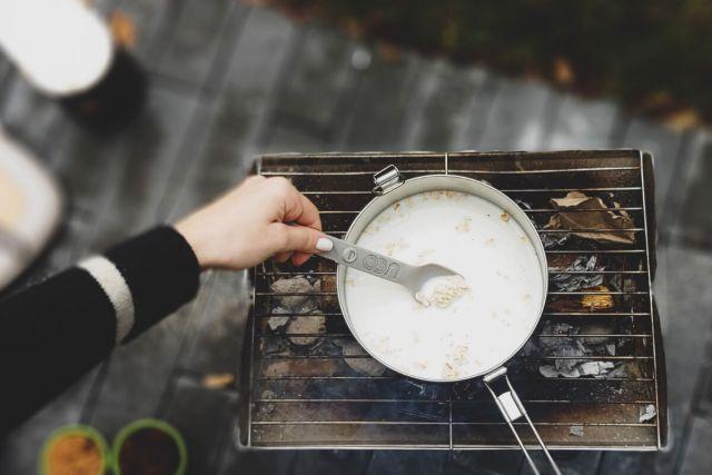 Oatmeal Stirring Milk