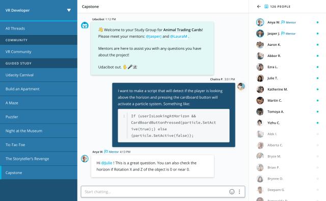 Udacity - Student Hub - Project chat - 2