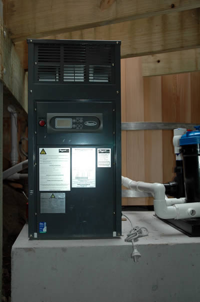 RayPack Natural Gas Heater installed with Ukko Hot Tub