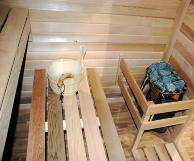 Ukko Cedar Log Sauna Kit inside