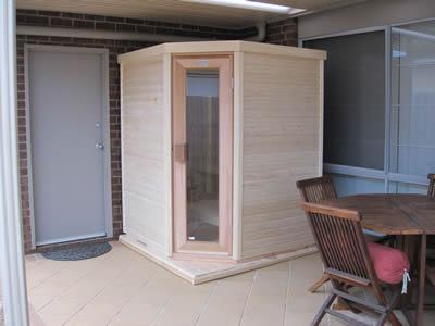 Corner Sauna installed
