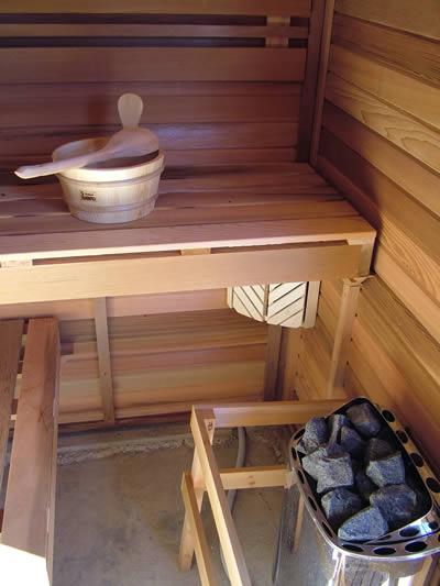 Ukko Cedar log sauna inside view