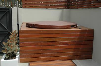 Ukko Cedar Hot Tub under small deck