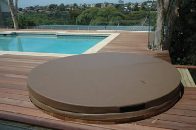 Ukko tub blends with outdoor entertaining area.