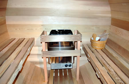Ukko Barrel Sauna with two adjusted benches