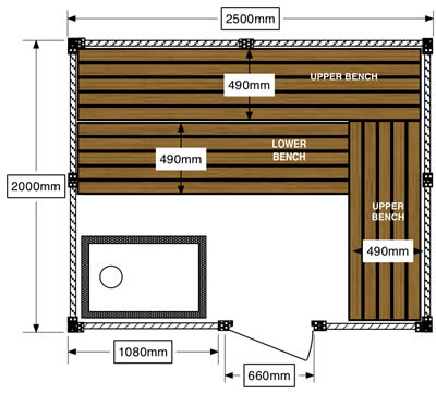 Ukko sauna floor plan with wood fired stove