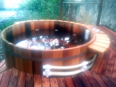 Tub filled with water