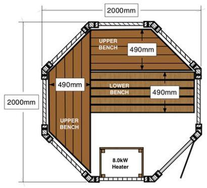 Cedar 2 x 2m octagonal log sauna