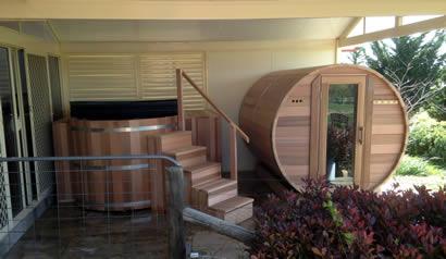 Ukko Cedar hot tub and barrel sauna