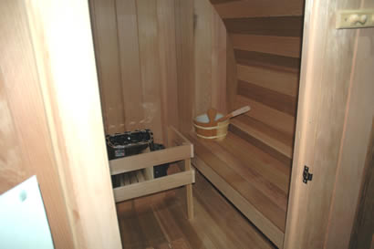 Barrel sauna inside view