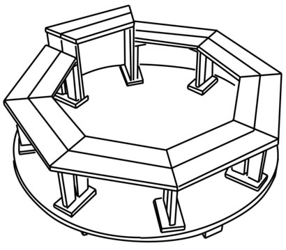 Octagonal tub benches with step down