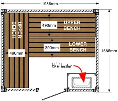 Cedar sauna floor plan