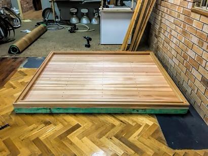Sauna floor is in