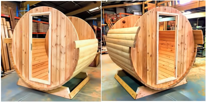 Ukko Larch Barrel sauna assembly
