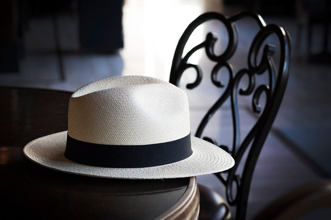 Panama hat on table