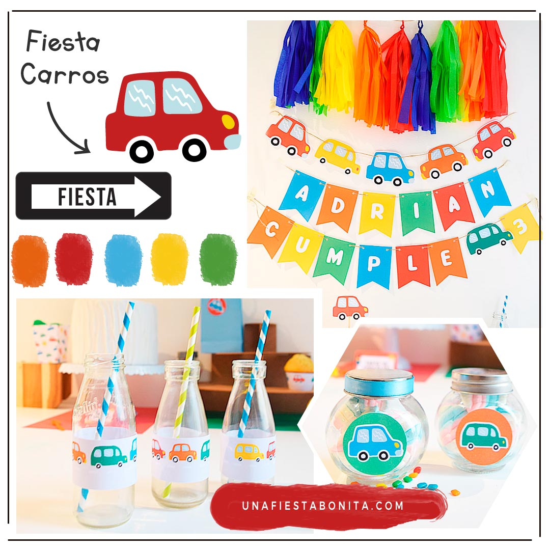 kit imprimible para fiestas tematicas carritos