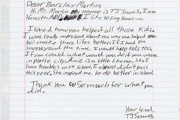 """One of the letters sent by Gail's students after watching """"Rise and Dream."""""""