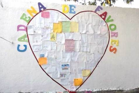Sponsored friends and their families drew pictures and wrote descriptions of the random acts of kindness they performed.