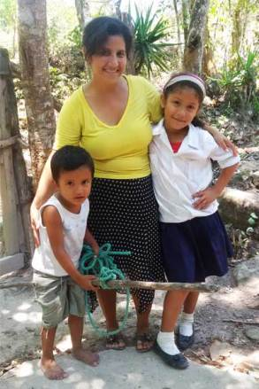 Maria and her children Dany, left, and Elsy, right.