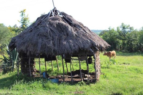 A dilapidated and weather worn hut in Kenya.