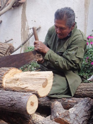 Enrique saws logs into pieces ready for carving.