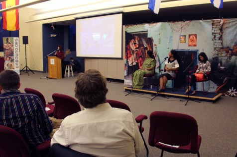 The three project coordinators speaking on a panel.