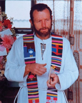 An archive image of Father Rother in Guatemala.
