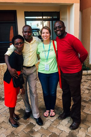 Joanna (center) with Kenya staff members Rahab, Jackson and Amos.