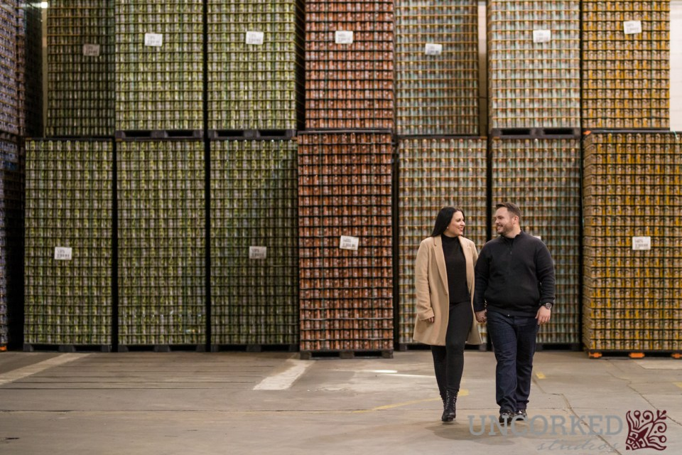 Neshaminy Creek Brewing Company Engagement Session - beer cans for days!
