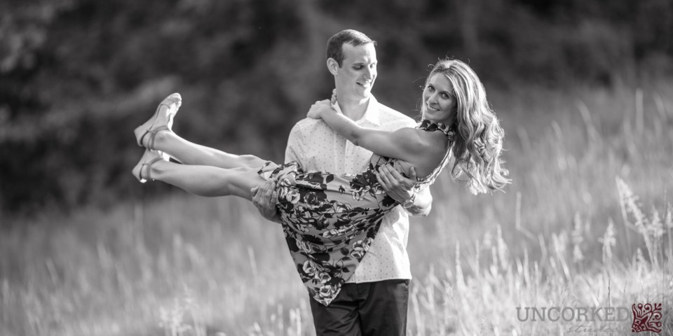 Black and White romantic engagement