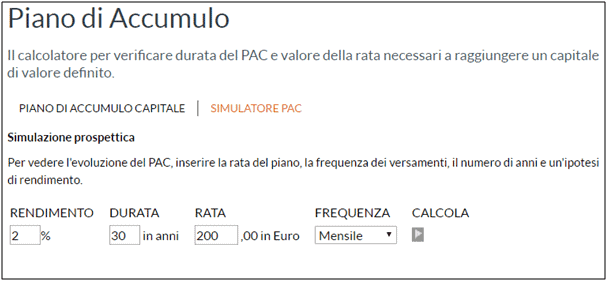 Simulatore piano di accumulo