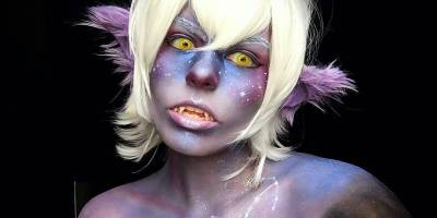 Galaxy Galra Keith Makeup with Yellow Halloween Circle Lenses