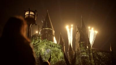 The Nighttime Lights at Hogwarts Castle gif