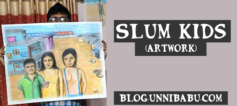 slum kids artwork oil pastel color pencils