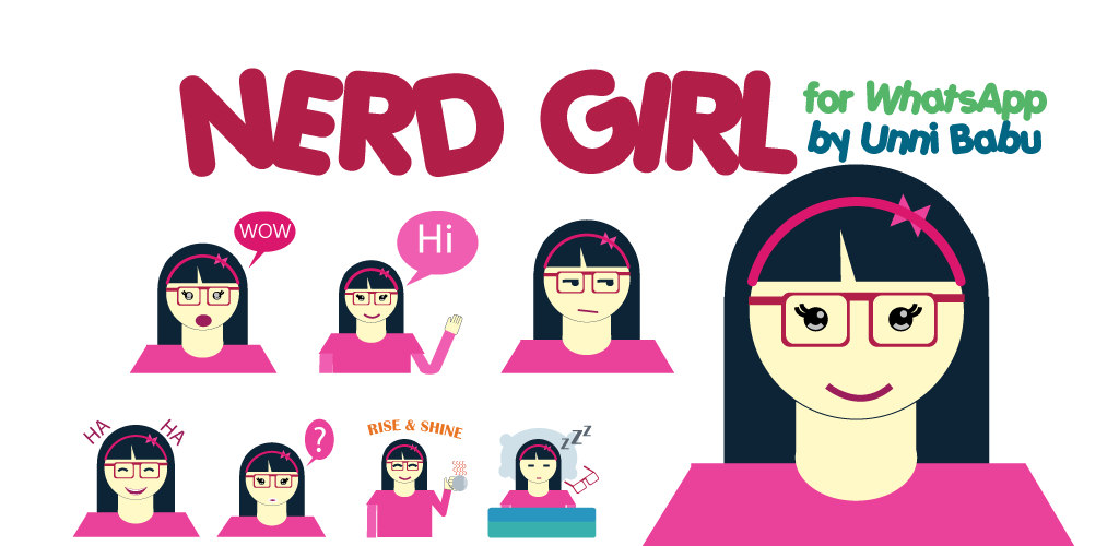 nerd girl whatsapp stickers