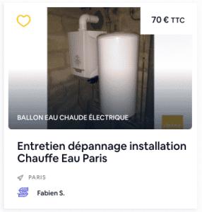 entretien dépannage installation chauffe eau paris
