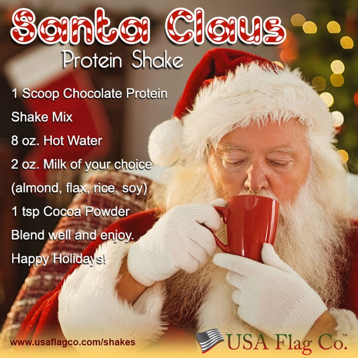 He sees you when you're sleeping, he knows when you're awake, he knows if you drank your Santa Claus Protein Shake, so be good for goodness sake!