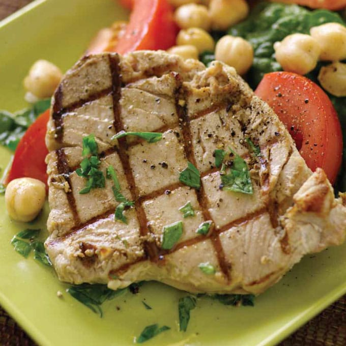 Grilled Tuna with Chickpea and Spinach Salad Recipe