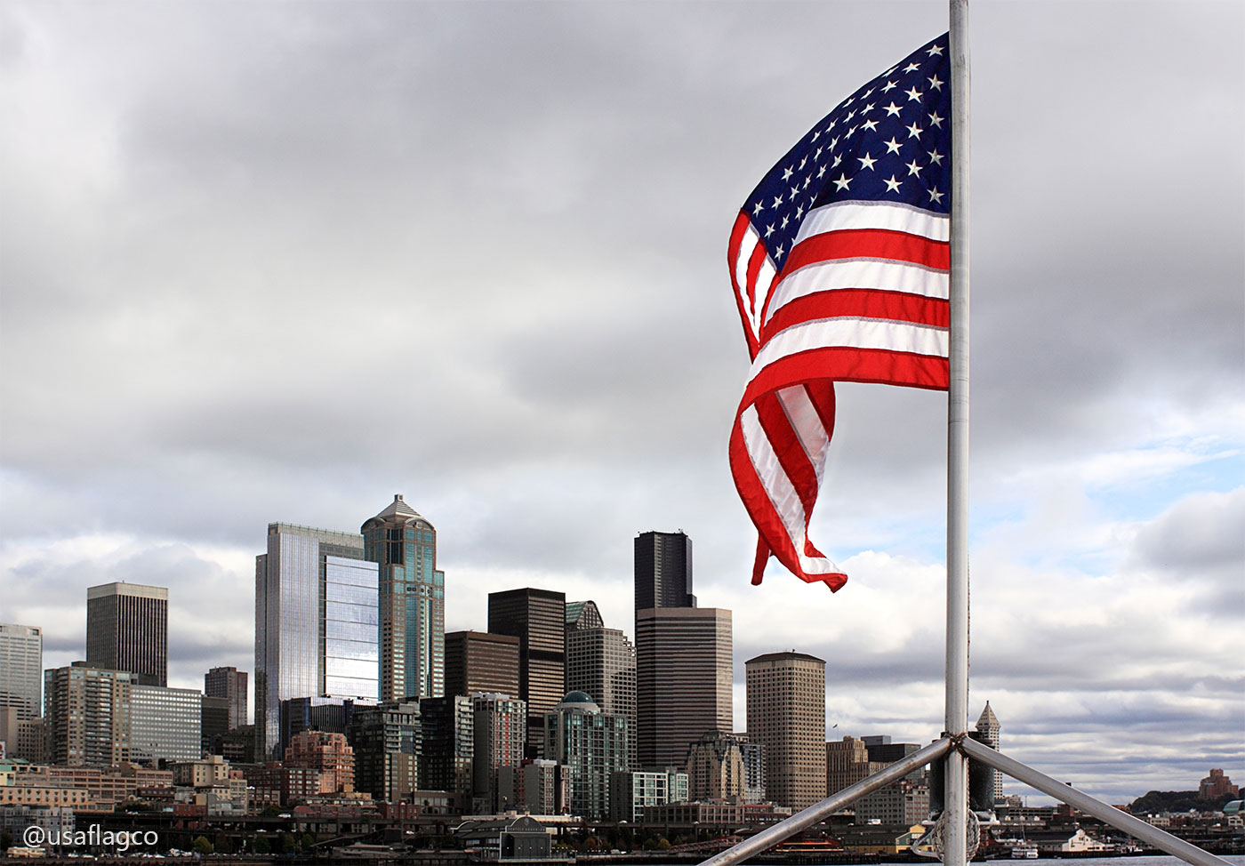 USA Flag Seattle Washington