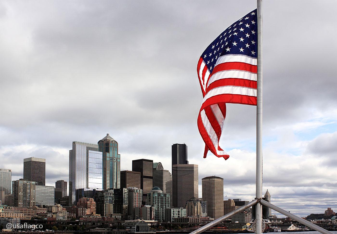 USA Flag Seattle Washington