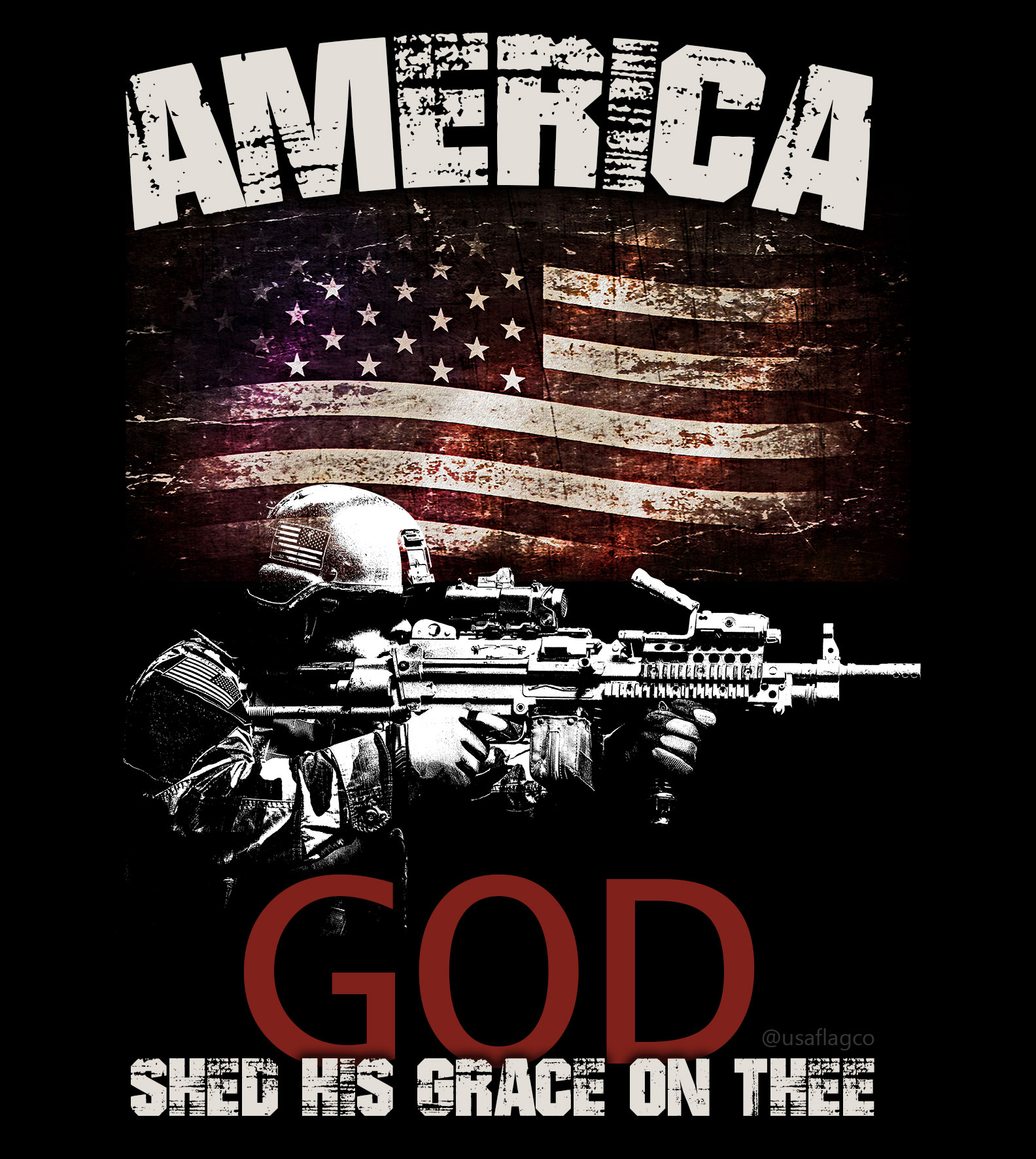 AMERICA: GOD Shed His Grace on Thee! The American Soldier by USA Flag Co.